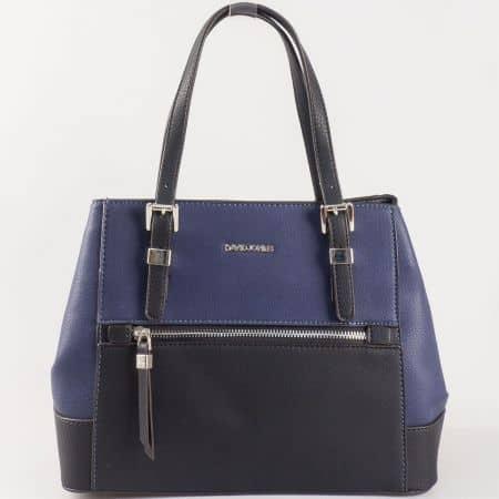 Дамска семпла чанта с две дръжки - къса и дълга на френския производител в черен и син цвят ch5068-4ch