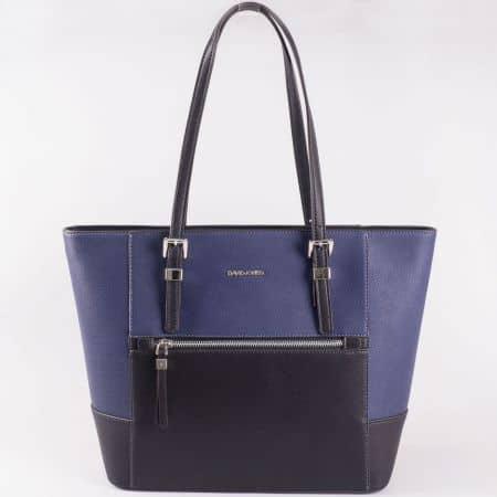 Дамска чанта за всеки ден с преден джоб на френския производител David Jones в черен цвят ch5068-6ch