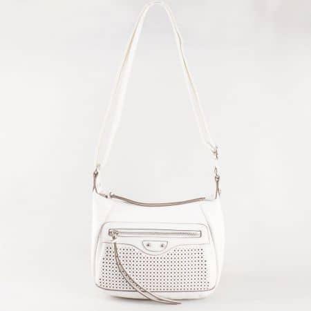 Дамска ежедневна чанта с преден джоб и дълга дръжка на френския производител David Jones в бяло ch5074-1b