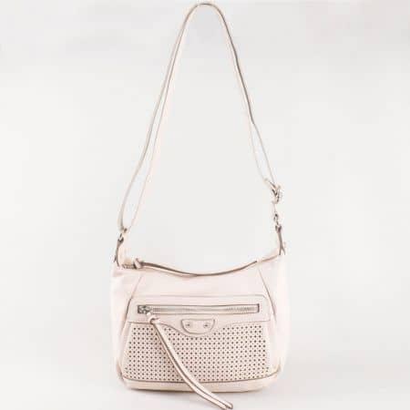 Дамска ежедневна чанта с атрактивна визия и дълга дръжка на френския производител David Jones в бежово ch5074-1bj