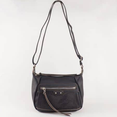 Дамска малка чанта с атрактивна визия и дълга дръжка на френския производител David Jones в черен цвят ch5074-1ch