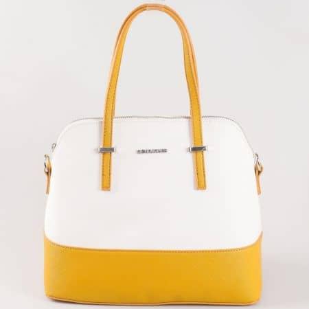 Дамска чанта за всеки ден с къса и дълга дръжка на David Jones в жълто и бяло ch5077-1j
