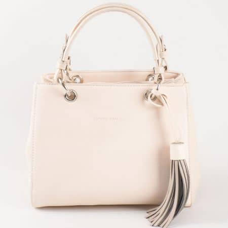 Дамска стилна чанта с две дръжки - къса и дълга на френския производител David Jones в бежово ch5078-1bj