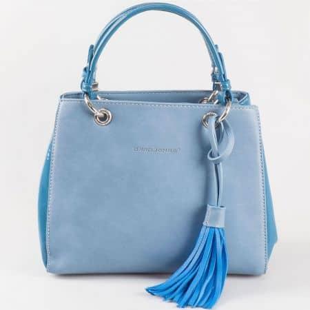 Дамска практична чанта с атрактивна визия и две дръжки на френския производител David Jones в син цвят ch5078-1s