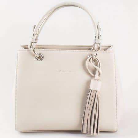 Дамска чанта за всеки ден със свежа визия и две дръжки на френската марка David Jones в сиво ch5078-1sv