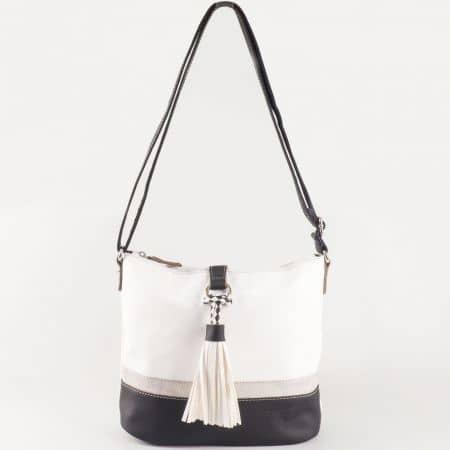 Дамска чанта за всеки ден с практично разпределение на френския производител David Jones в черно и бяло ch5080-1ch