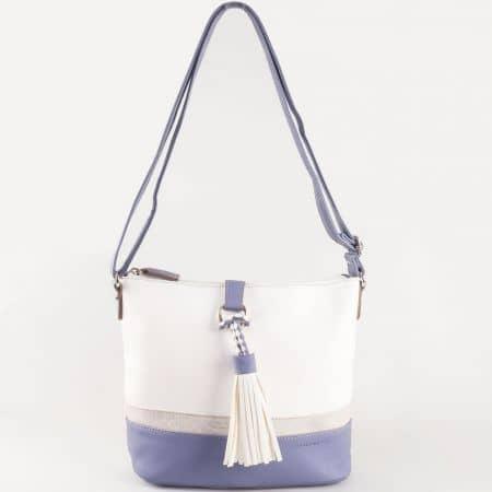 Дамска чанта за всеки ден с пискюл на френския производител David Jones в бяло и синьо ch5080-1s