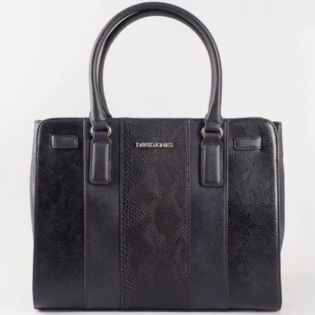 Дамска чанта за всеки ден със змийски принт на френския производител David Jones в черен цвят ch5086-2ch