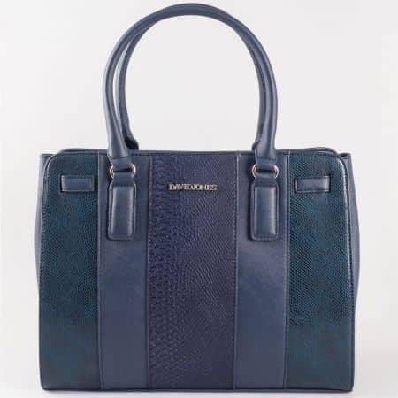 Дамска чанта за всеки ден със ефектен змийски принт на френския производител David Jones в син цвят ch5086-2s
