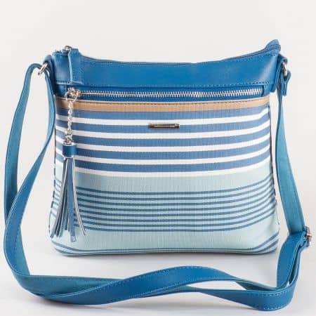Дамска малка чантичка с дълга дръжка на известния френски производител David Jones в тъмно и светло синьо ch5090-1s