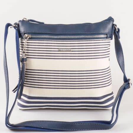 Дамска чантичка за всеки ден с преден джоб на френския производител David Jones в тъмно синьо и бежово ch5090-1ts