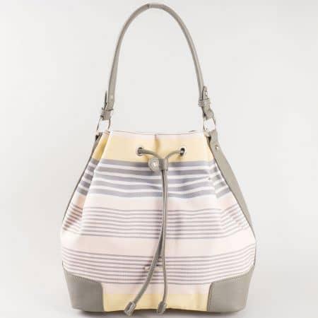 Дамска многоцветна чанта на райета с дълга и къса дръжка на френската марка David Jones в розово, сиво и жълто ch5090-2rz