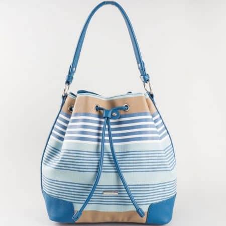 Дамска свежа чанта за всеки ден на райета с къса и дълга дръжка на френския производител David Jones в съчетание от кафяво, синьо и бяло ch5090-2s