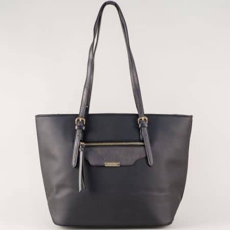 Дамска чанта с две средни дръжки в черен цвят ch5290-3ch