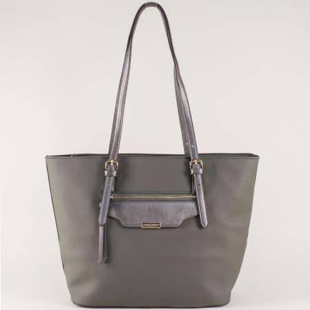 Френска дамска чанта в сив цвят с външен джоб с цип ch5290-3sv