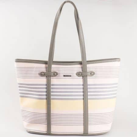 Дамска атрактивна чанта за всеки ден с къса дръжка на френската марка David Jones в съчетание от розово, сиво и жълто ch5090-4rz