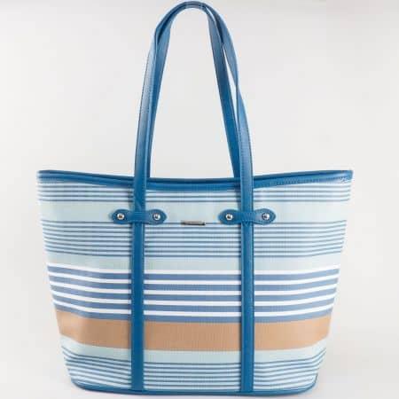 Френска дамска чанта, тип торба с две средни дръжки и цветно райе в кафяво, бяло и синьо  ch5090-4s