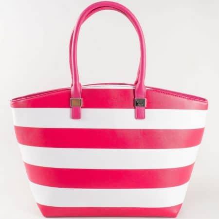 Дамска двуцветна чанта за всеки ден на райета на френската  марка David Jones в розово и бяло ch5096-1rz