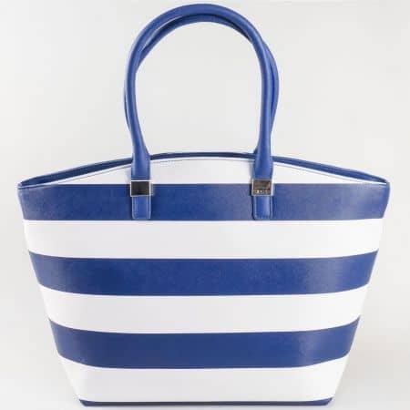 Дамска ежедневна чанта с две дръжки - дълга и къса на френската марка David Jones в синьо и бяло ch5096-1s