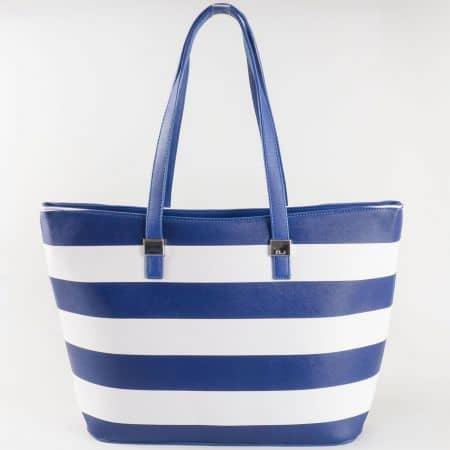 Дамска чанта в моряшки стил с външен джоб с цип- David Jones в синьо и бяло  ch5096-2s