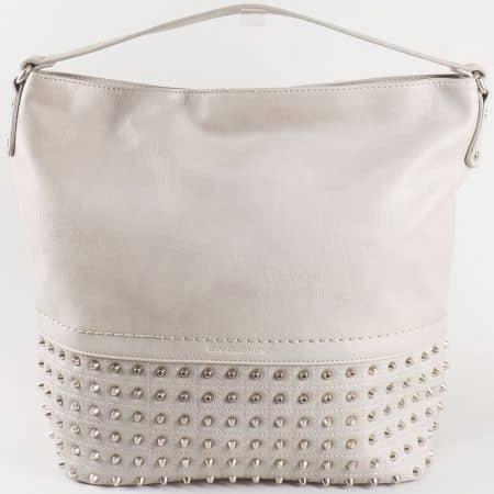 Дамска екстравагантна чанта с ефектни метални капси на известната френска марка David Jones в сив цвят  ch5106-1sv