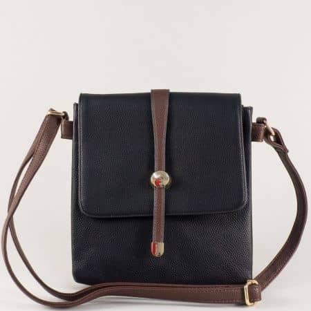 Черна дамска чанта с дълга дръжка и практични прегради ch15107ch