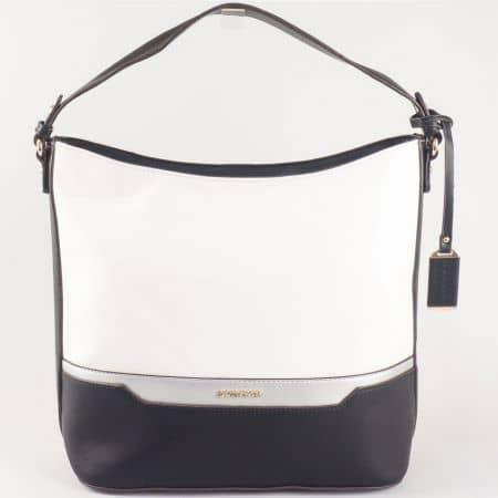 Дамска стилна чанта с две дръжки и практично разпределение на френския производител David Jones в бяло и черно  ch5110-1b