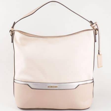 Дамска семпла чанта с две дръжки на френския производител David Jones в бежов цвят ch5110-1bj