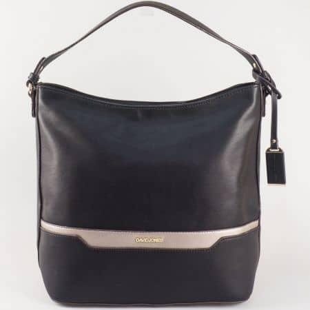 Дамска ежедневна чанта с изчистена визия на френския производител David Jones в черен цвят ch5110-1ch