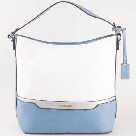 Дамска ежедневна чанта със стилна визия и две дръжки на френската марка David Jones в син и бял цвят ch5110-1s