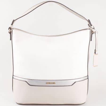Дамска чанта за всеки ден с две дръжки - къса и дълга на френския производител David Jones в бяло и сиво ch5110-1sv