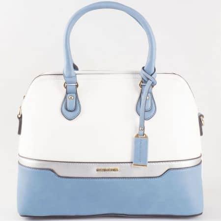 Дамска чанта за всеки ден със семпла, стилна визия на David Jones в бяло и синьо ch5110-2s