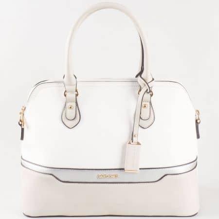 Дамска стилна чанта с две дръжки на френската марка David Jones в сив цвят ch5110-2sv