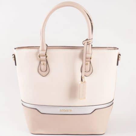 Дамска стилна чанта с две дръжки - дълга и къса на френската марка David Jones в бежов цвят ch5110-3bj