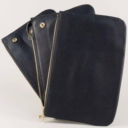 Ежедневна дамска чанта в черен цвят с три прегради и дълга дръжка ch5168ch