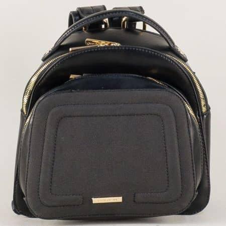 Черна дамска раница- David Jones с преден джоб с цип ch5207-2ch