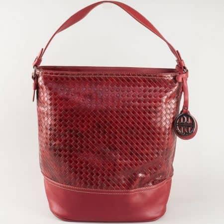 Дамска чанта David Jones с къса и дълга дръжка в цвят бордо ch5209-1bd