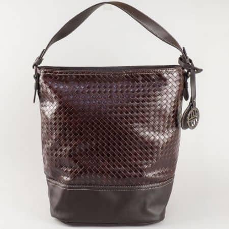 Дамска ежедневна чанта с къса и дълга дръжка в тъмно кафяв цвят- David Jones  ch5209-1k