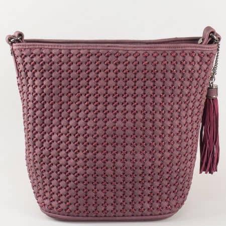 Дамска чанта в цвят бордо David Jones с релефна кожа ch5223-1bd
