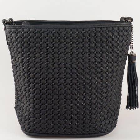Изчистен модел черна дамска чанта David Jones ch5223-1ch