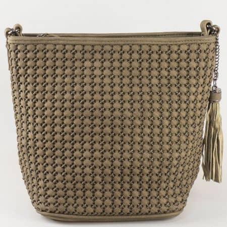 Дамска чанта с дълга дръжка David Jones в кафяво ch5223-1k