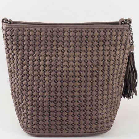 Кафява дамска чанта от еко кожа David Jones ch5223-1kk