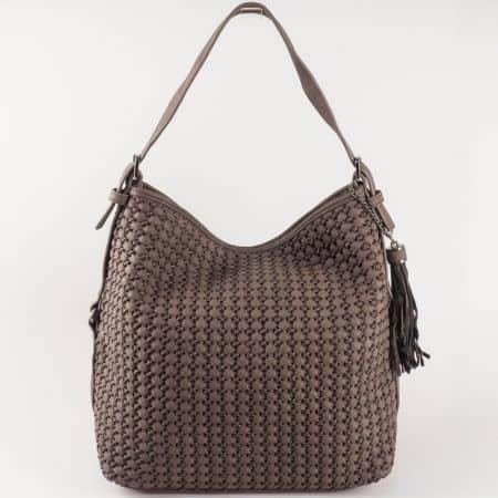 Дамска чанта тип торба David Jones в тъмно кафяв цвят ch5223-2kk