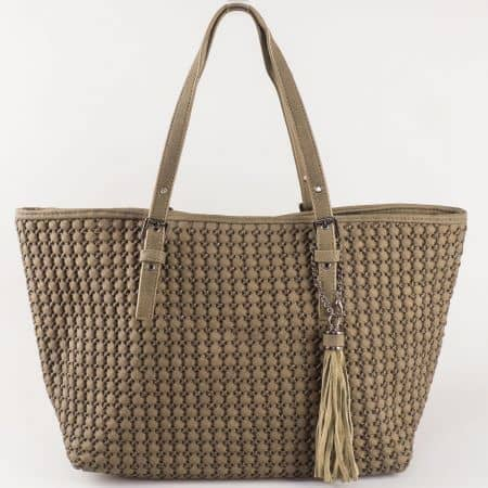 Кафява дамска чанта с две регулиращи се дръжки ch5223-3k