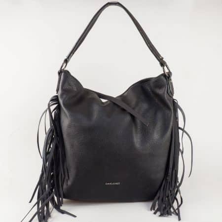 Дамска чанта David Jones от еко кожа с ефектни ресни в черно ch5238-1ch