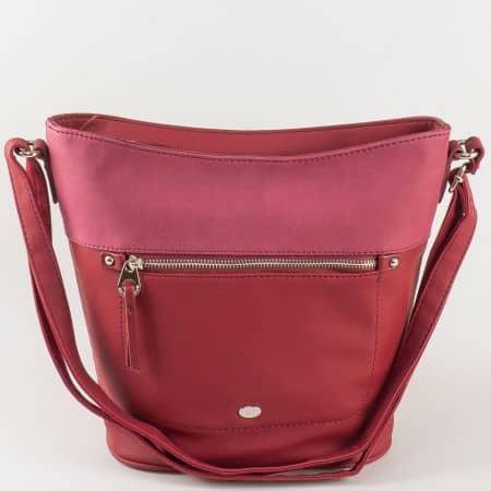 Дамска чанта в цвят бордо David Jones с дълга дръжка ch5250-2bd