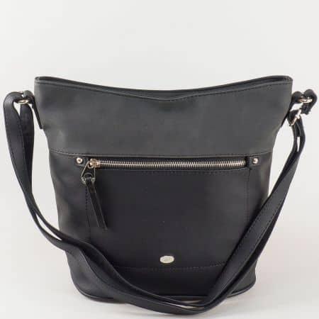 Черна дамска чанта David Jones с изчистен дизайн ch5250-2ch