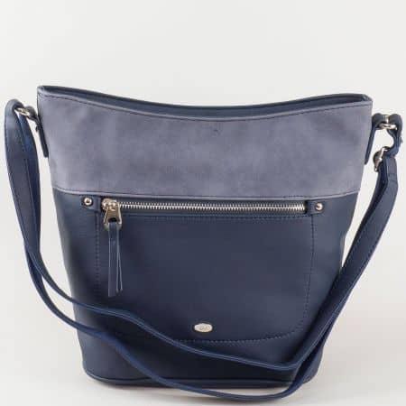 Ефектна синя дамска чанта David Jones с преден джоб с цип ch5250-2s
