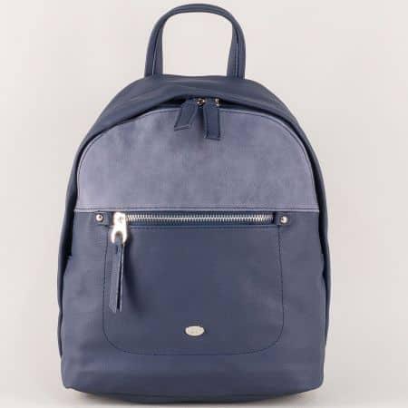 Дамска раница с външен преден джоб в син цвят ch5250-3s