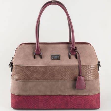 Дамска чанта в цвят бордо David Jones със змийски мотив ch5256-1bd